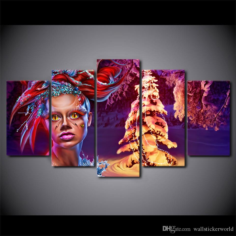 5 Panel HD Printed Christmas Tree Make Up Women Wall Canvas Art Modern Print Painting Poster Picture For Home Decor