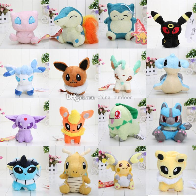 16pcs / set Anime 16 Different bolso estilo Pikachu Plush Character Soft Toy Stuffed Animal Collectible boneca