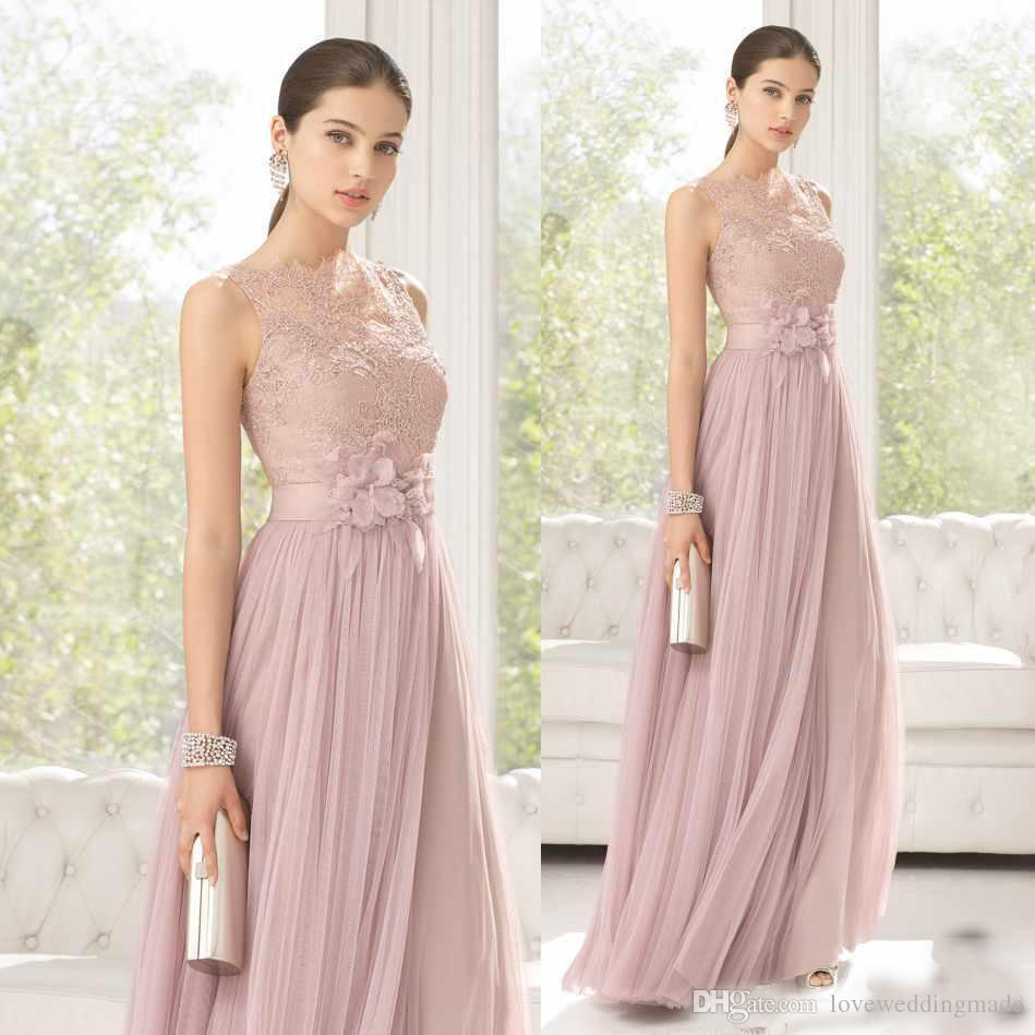 2019 Grace Blush Long Bridesmaids Dresses Sheer Lace And Tulle Bateau Neckline A-Line Hand Made Flowers Evening Party Wear