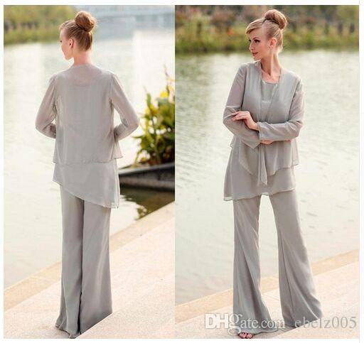 Light Grey Chiffon Mother Pants Suit With Jacket Long Chiffon Pant ...