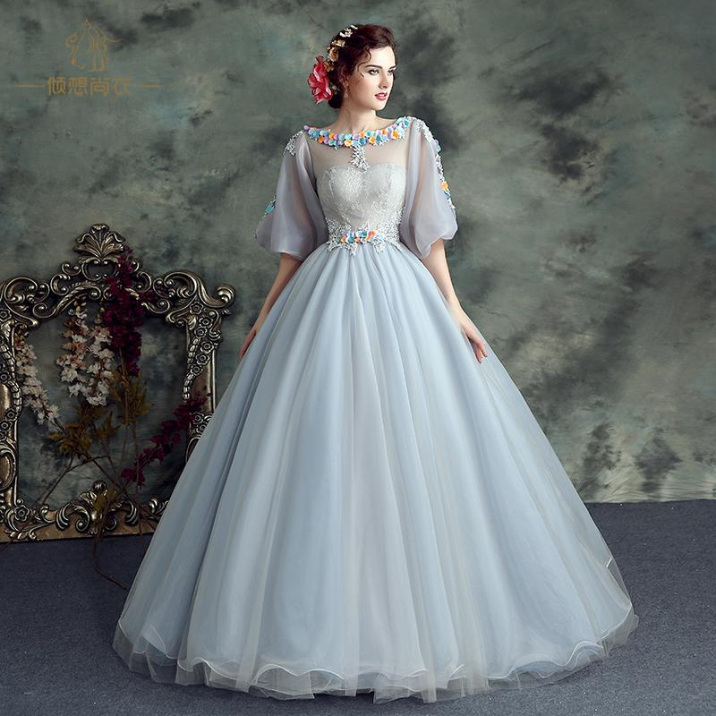 100%real Light Grey Veil Lace Flower Bubble Sleeve Embroidery Court ...
