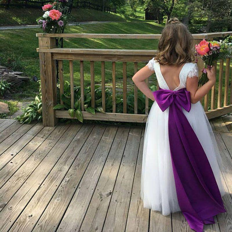 floor length purple chiffon flower girl dress