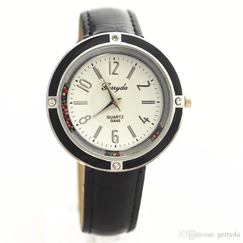 !Promotional price!Silver plate case,moving sand stone under glass,PVC leather band,Gerryda fashion woman lady watches,640