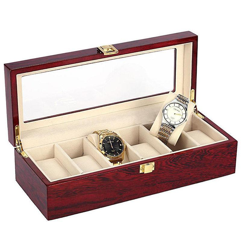 6 Grid Vintage Wood Jewelry Watch Collection Display Storage Jewelry