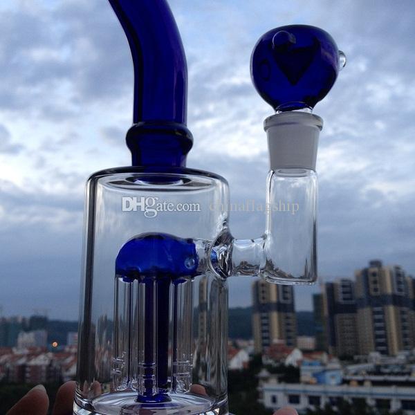 Heißer verkauf single layer 10 arm baum perc bong geschmackvolle form mit blauem glas akzentuiert perks blau glas akzente auf seine ausgestelltes mundstück