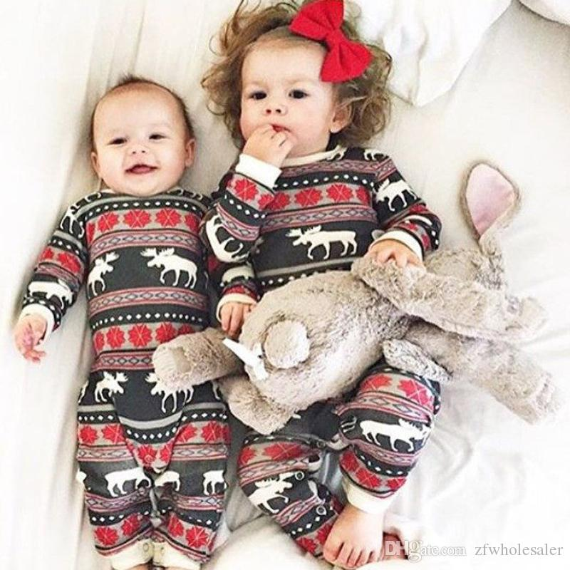 Christmas Baby Pajamas Reindeer Organic Ctoon Romper Suit Toddler Outfit Festival Boutique Clothing Wholesale Stylish Kids Clothes Unisex