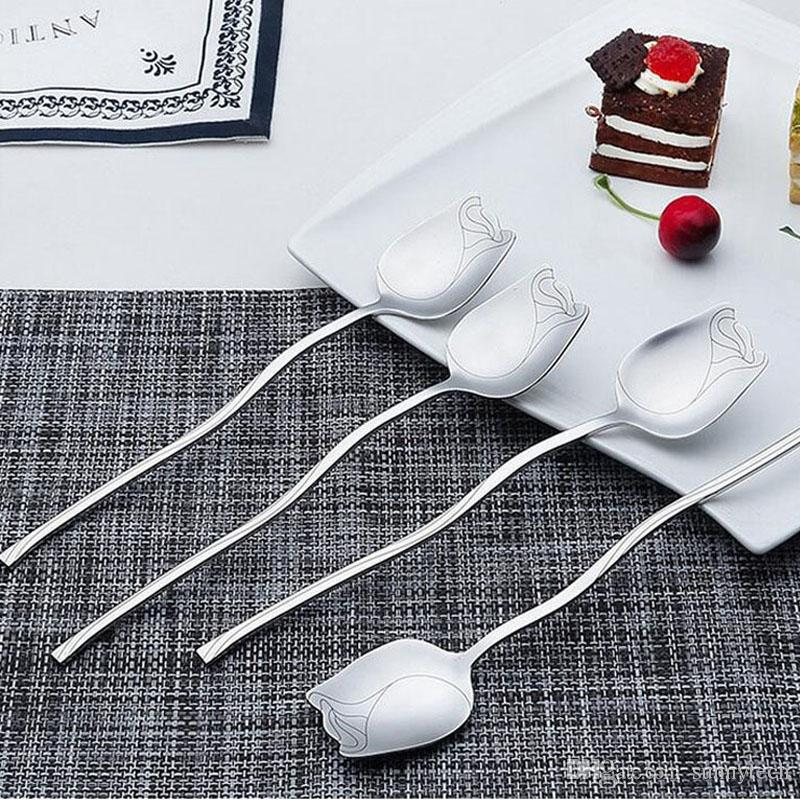 304 Stainless Steel Rose Design Mixing Spoons Mirror Polish Long Handle Coffee Cocktail Mixing Spoons ZA5209