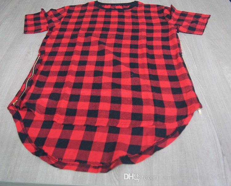 Summer Hip Hop Red Plaids cotton flannel t shirts for men / Gold Zipper Sides Tees Lengthen Arc Hem Casual plaids Men T Shirts M-3XL
