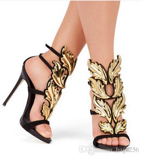 f1fe8bc737 Compre Top Marca De Verão Novo Design De Moda Feminina Barato Ouro Prata  Folha Vermelha Salto Alto Peep Toe Vestido Sandálias Sapatos Bombas  Mulheres De ...