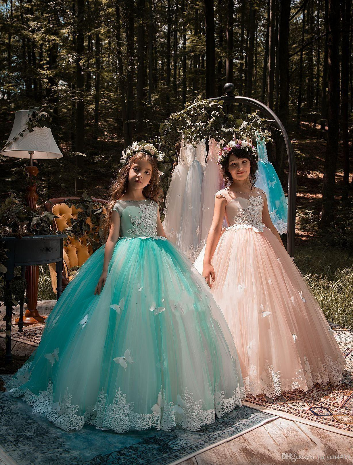 2018 New Cheap Mint Green Girls Pageant Dresses Ball Gown Lace ...