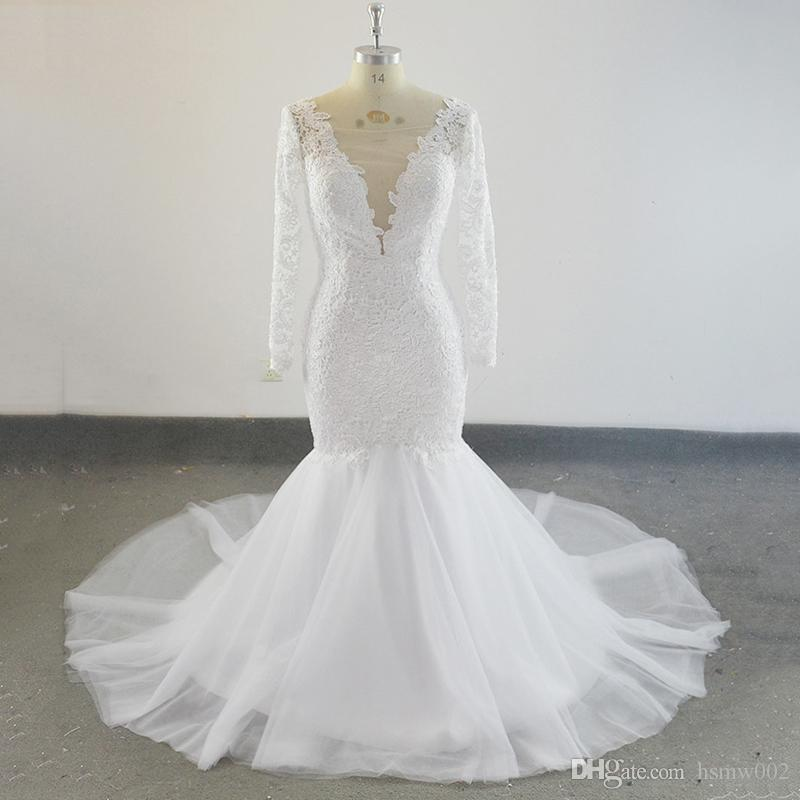 Real Sample Lace Mermaid Wedding Dress With Long Sleeves Appliques Sweep Train Robe De Mariee Bridal Wedding Gowns Plus Size