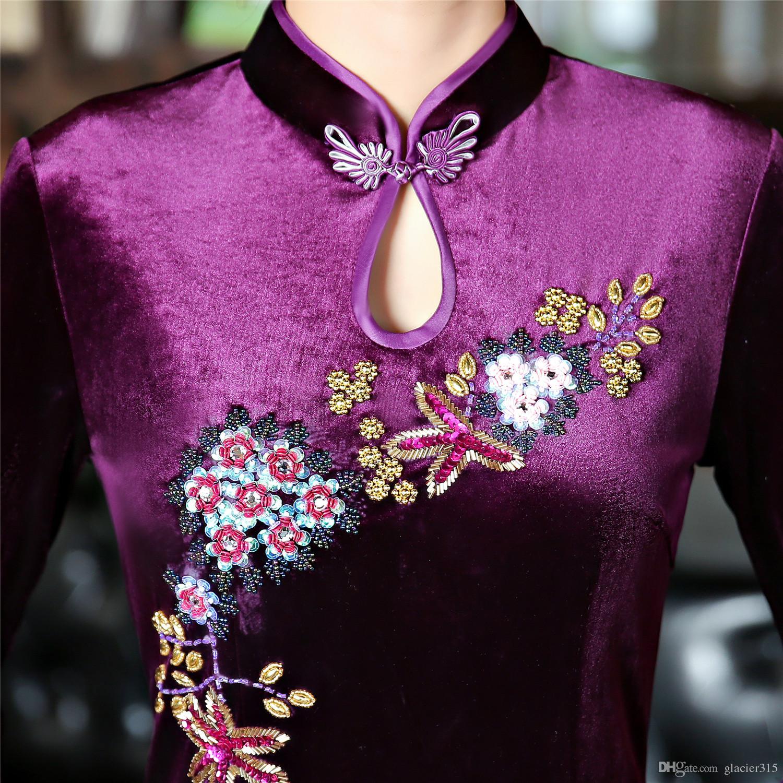 Shanghai Story flower Print Long Qipao Chinese Dress Autumn Chinese style Oriental dress Chinese Womens Clothing 3/4 Sleeve Velvet cheongsam