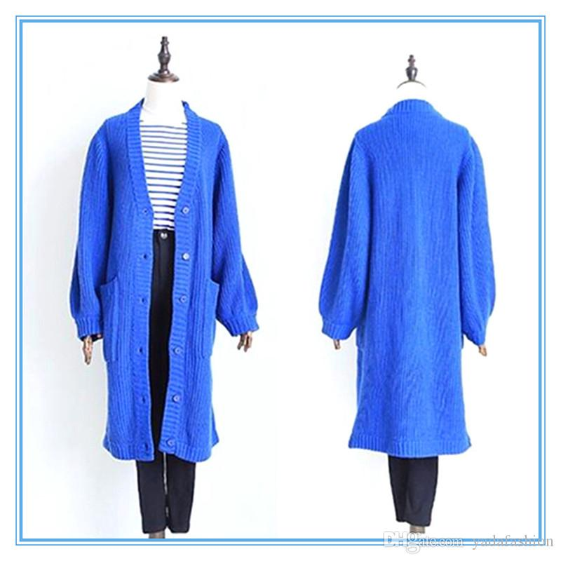 2018 2016 Winter Fashion Elegant Loose Style Royal Blue Wool Women ...