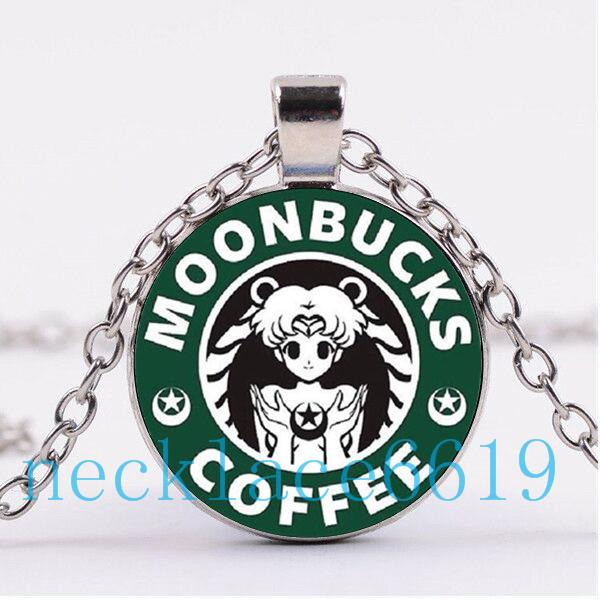 Wholesale Sailor Moon Starbucks Necklace PendantChristmas GiftBirthday GiftCabochon Glass NecklaceSilver Black Fashion Jewelry DJ 64 Cheap Pendant