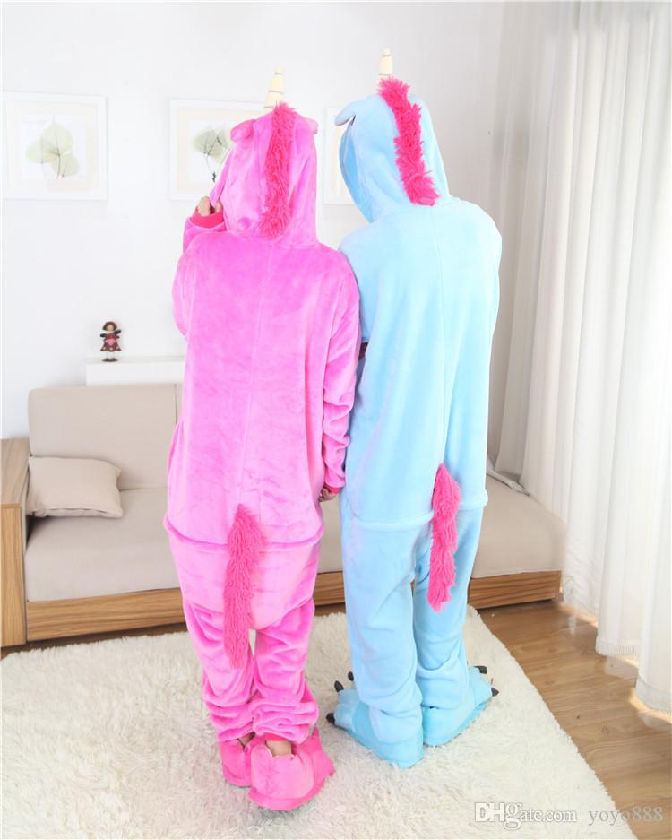 Mens Ladies Pegasus cosplay Animal Adulto Onesies Onsie Macacão Pijama Pijamas 1012 S / M / L / XL / XL