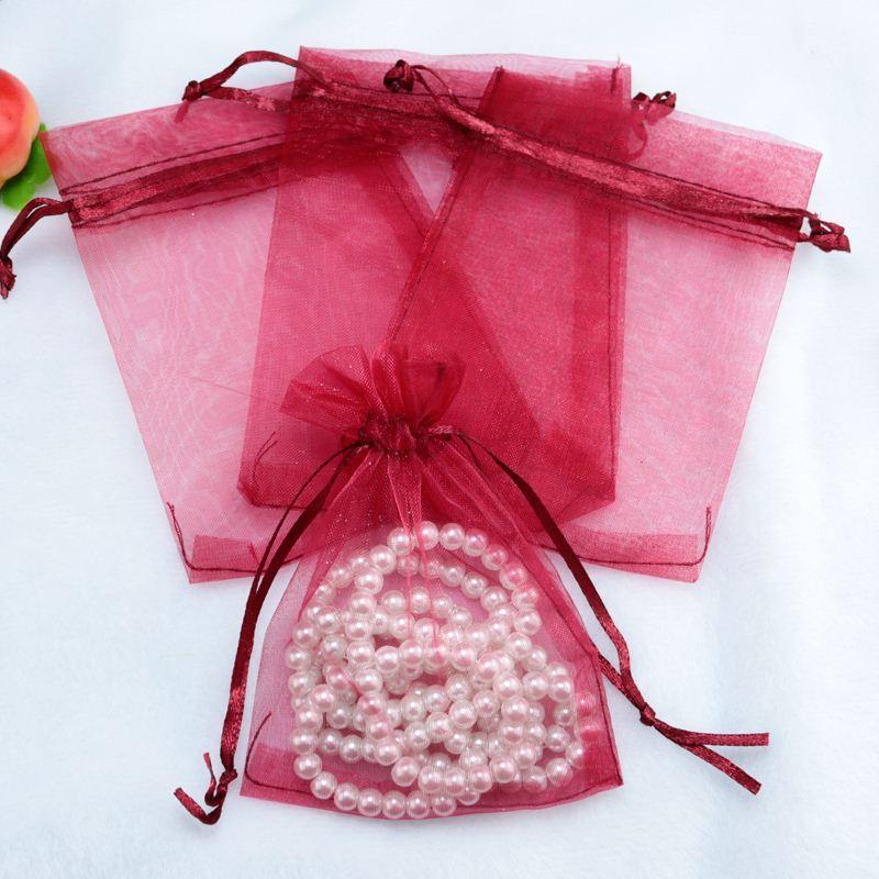 Wholesale Drawable Dark Red Small Organza Bags 7x9cm Favor Wedding