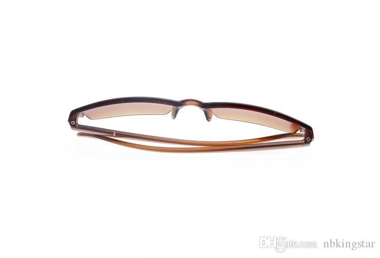 여성을위한 / Lot의 새로운 투명한 갈색 플라스틱 하프 림리스 노안경 초경량 독서 안경 무료 배송