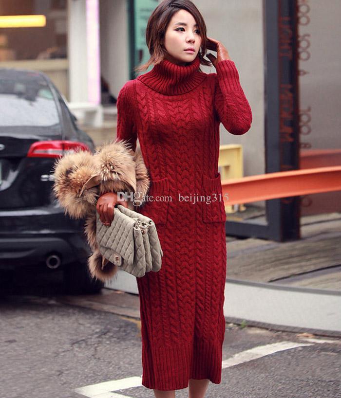 2019 Plus Size Sweater Coat Women Turtleneck Pullover Sweater Dress Maxi  Long Split Knit Dress Winter Outerwear From Beijing315, $40.02 | DHgate.Com
