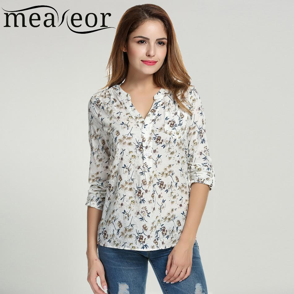 78aa8b84ef39bd X201710 Meaneor Women Floral Print Blouse Tops 1950s 60s Vintage Autumn Clothing  Casual Roll Up Sleeve Cotton Fabric High Quality Blouse High Quality ...