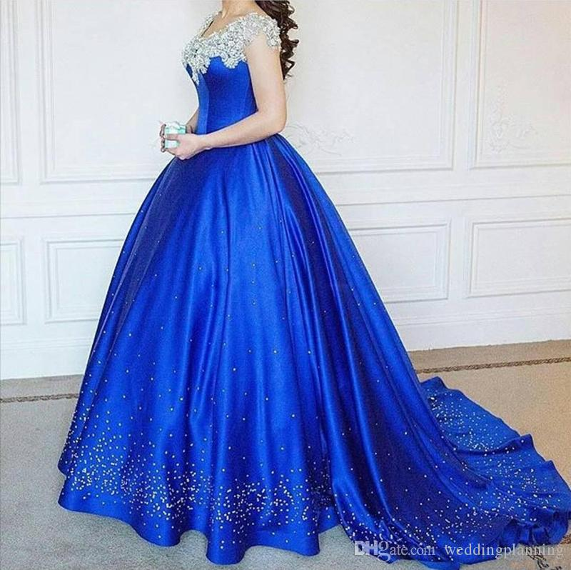 2017 Royal Blue Luxury Ball Gown Prom Dresses Off Shoulder Cap Sleeves Beading Satin Floor Length Arabic Plus Size Evening Gowns