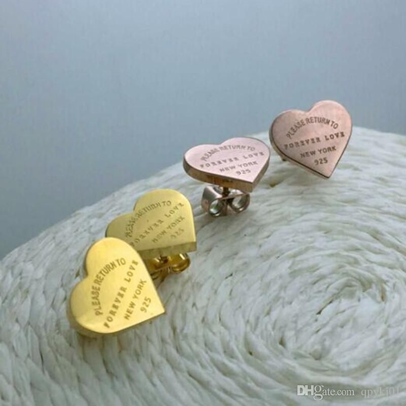 Venda quente para sempre amor brincos de Aço Inoxidável 316L amor brincos do coração sharpe brincos de coração para as mulheres homens Casais finos jewlery atacado
