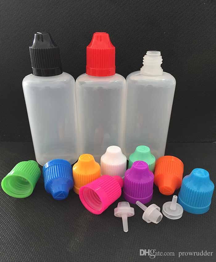 100 adet PE 50 ML Damlalık Şişeler Plastico E-Cigrette şişe Göz sıvı Yağ Damlalık Dağıtıcı Şişe Ile Çocukların Açamayacağı Kap Renkli