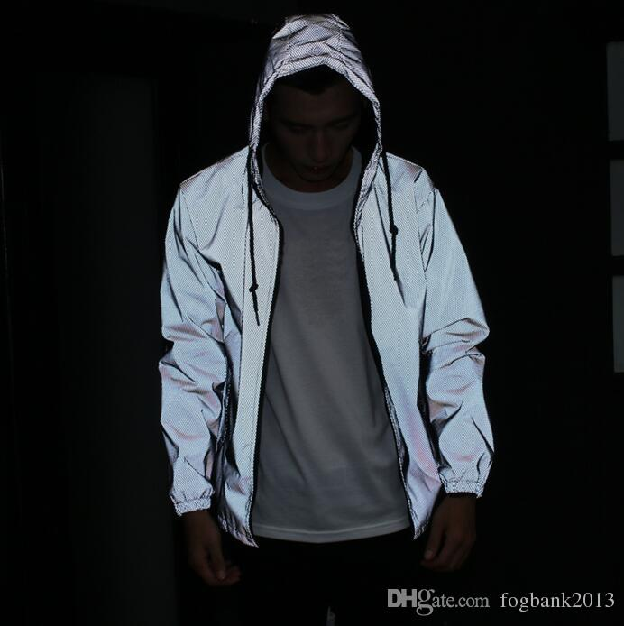 Мужская куртка повседневная хип-хоп ветровка 3м светоотражающая куртка Мужская спортивная куртка с капюшоном флуоресцентная одежда
