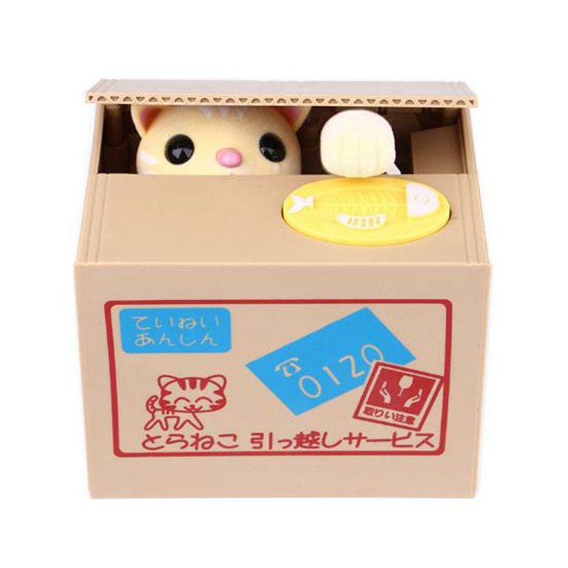 Children cartoon electric stealing money cat fruit box coin piggy bank creative eat money cat Piggy Bank for kid