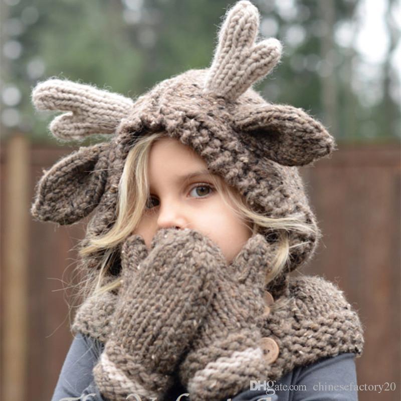 Baby-Winter-Weihnachtselche-Hut-Schal + Handschuhe scherzt Karikatur-Rotwild gestrickte Wärmer-Handschuhe für Kinder 2-9T