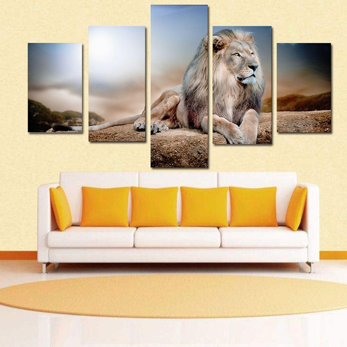 Five Recumbent Lions Hand-painted Painting Canvas Art Decorative ...