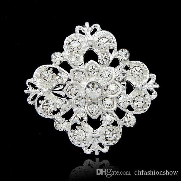 10 Stil Kadınlar için Yaka Iğneler Gümüş Kaplama Çiçek Rhinestone Broş Düğün Şapka Konfeksiyon Aksesuarları Vintage Takı Noel Hediyesi Broşlar