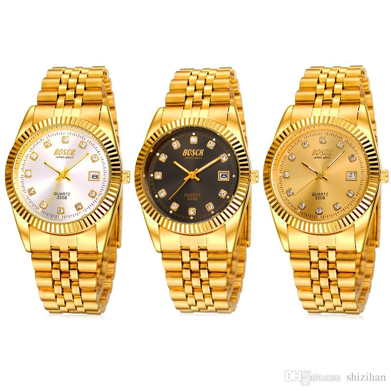 Bosck Bai Poem Gold Gold Watches Male Couple Ms Titanium Plating Gold Watch Gift 3308