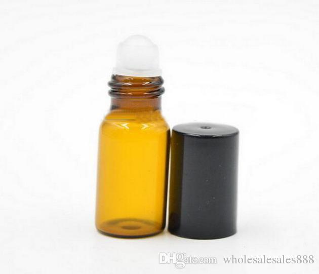 에센셜 오일 용 유리 병 3ml 롤 - 빈 아로마 테라피 향수병 - 유리 볼과 검은 색 뚜껑이 달린 호박색으로 채워진 슬림 앰버
