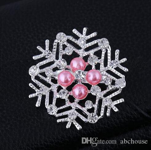 Hot Sale Frozen Snowflake Brooch Silver Rhinestone Crystal Alloy Brooches Cartoon Christmas Pins Fashion Flowers Pearl Wedding Party Jewelry