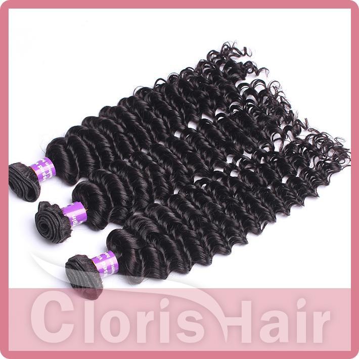 Paketler Ile işlenmemiş Malezya Saç Derin Kıvırcık Dalga 4 Adet% 100% İnsan Saç Örgüleri Kapaklar Derin Kıvırmak