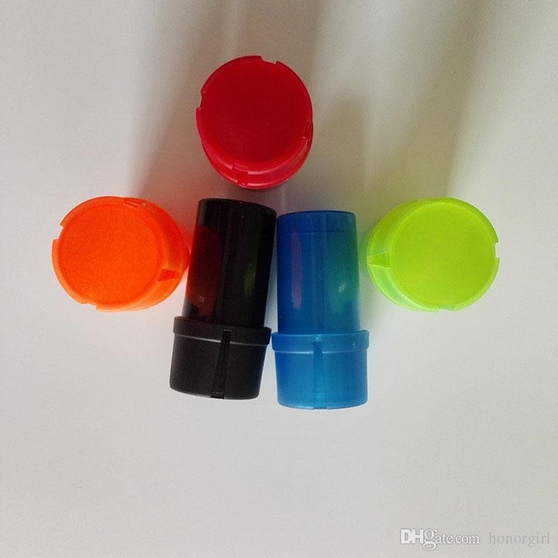 Bouteille Broyeur Étanche À L'eau Air Tight Qualité Médicale En Plastique Odeur À La Main Main De Tabac En Plastique Etui En Plastique 3 couche Grinders 5 couleurs