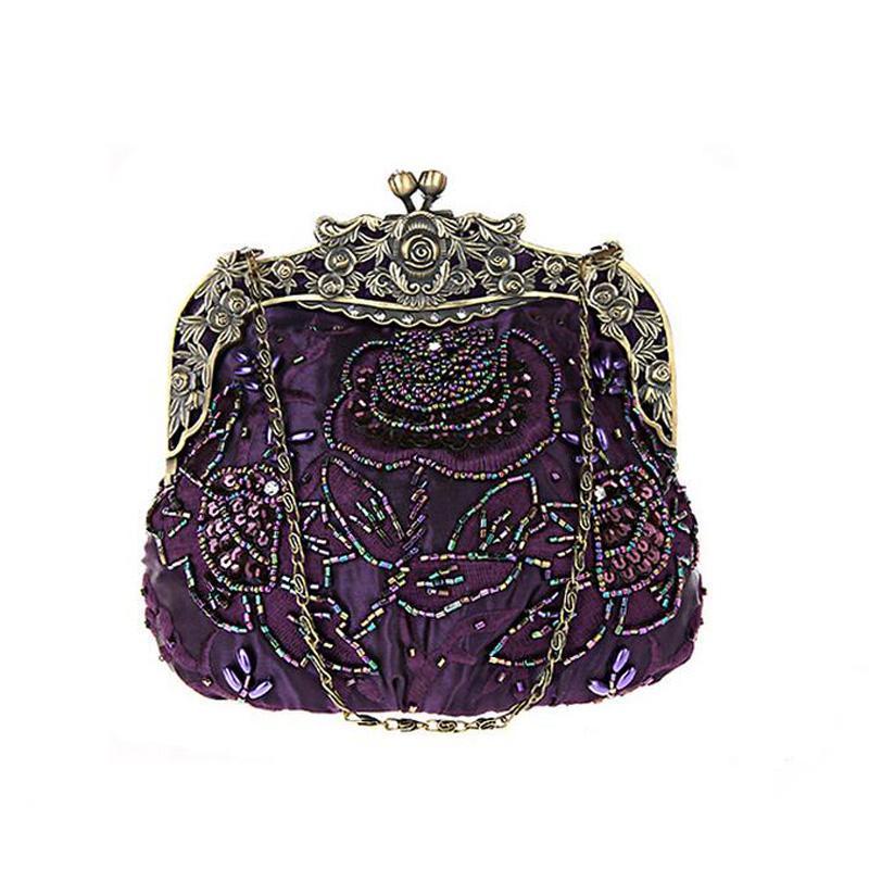 2017 Vintage Women Rose Beaded Evening Party Wedding Clutch Bag Ladies Luxury Handmade Chain Shoulder Handbag Flap Shape Bridal