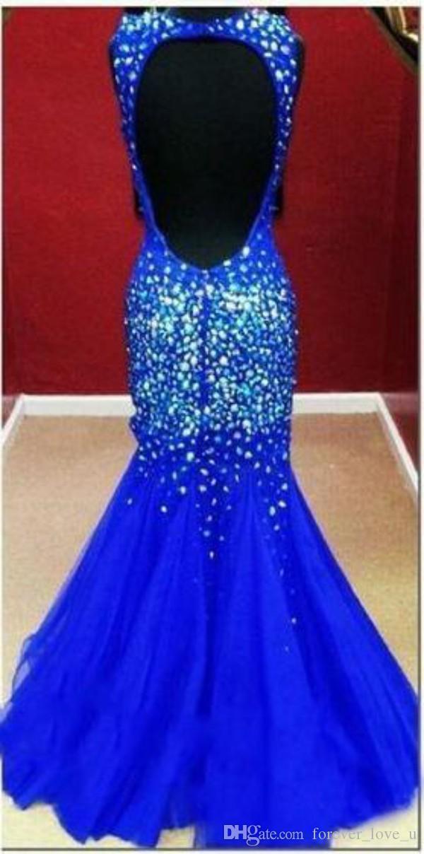 Sparkly Royal Blue Backless vestido de fiesta sirena cariño escote correas coloridos cristales de tul de lujo vestidos de fiesta de noche personalizados personalizados