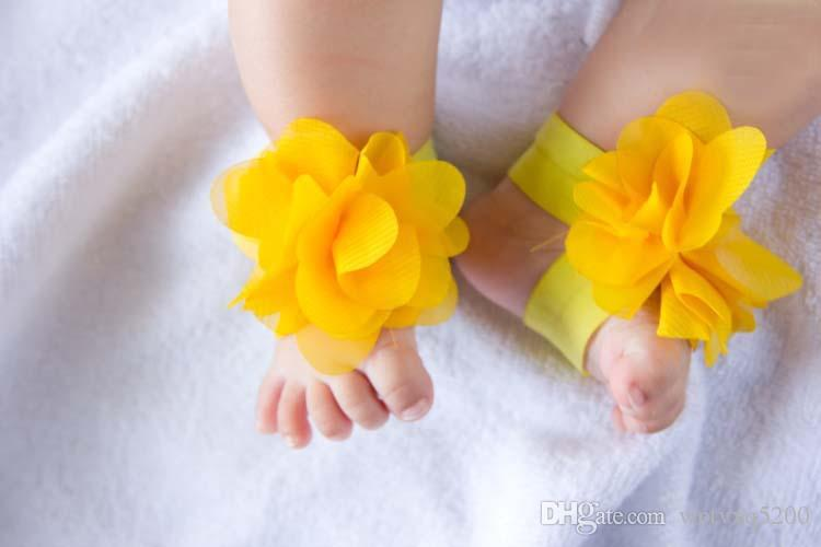 BABY Sandals baby Barefoot Sandals Foot Flower Foot Ties baby Toddler flower Shoes Infant crochet Sandals -J987