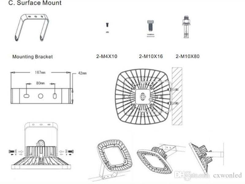 크리 칩 + Meanwell 드라이버 100W 150W 200W UFO LED 높은 베이 빛 120lm를 들어 / 램프 5 년 보증 조명 슈퍼 밝은웨어 하우스 전시 W