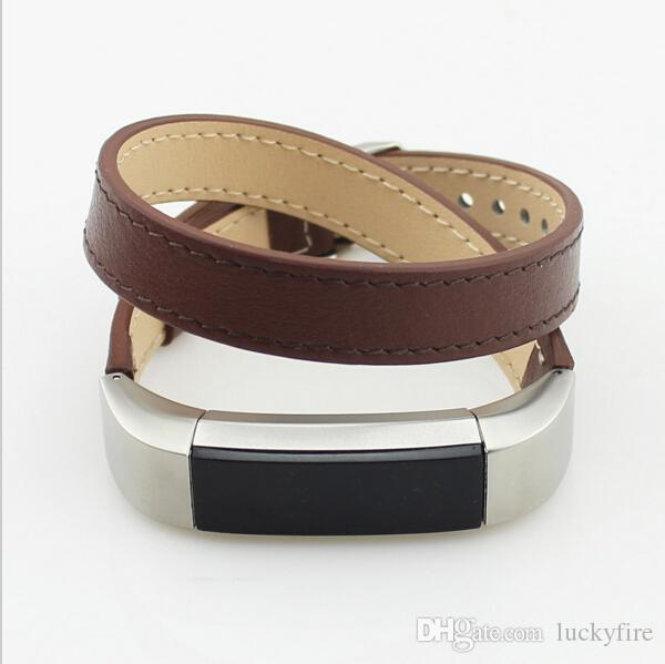 double strap watch wearable for fitbit alta bands genuine leather double tour smart