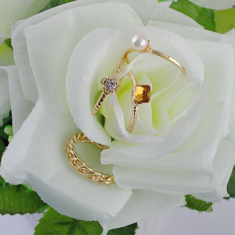 Новая Мода Дамы Сплава Кольцо 100% Экологически Чистый Материал Золотое Покрытие 4 Шт. / Лот Большая Перевозка Груза Падения