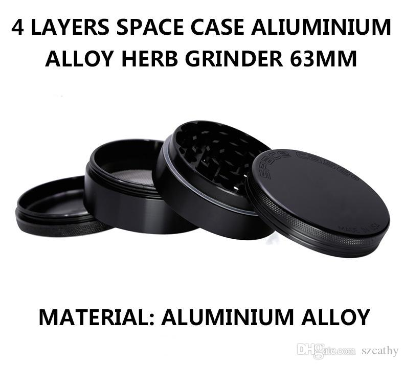 Uzay Vaka Öğütücü 4 Parçaları Herb Öğütücüler Alüminyum Alaşım Herb Kırıcı 63mm Ile 2.48 Inç Üçgen Kazıyıcı Süper Yüksek Kalite Siyah Gümüş