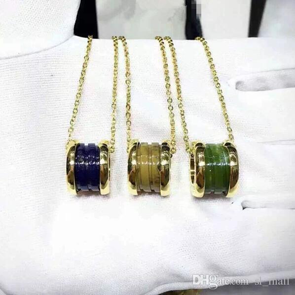 Art- und Weiseblau / Grün / Brown-Titanstahl-Whorl-Anhänger-Halsketten, Gelbgold / Rosen-Gold / Silber 3 Metallfarben Frauen / Männer-Kette