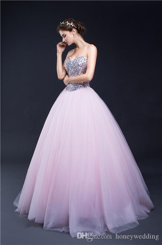 Light Pink Cheap Quinceanera Dresses In Stock Sequins Ruched Tulle Debutante Masquerade Prom Ball Gowns Sweet 16 Birthday Party Dress