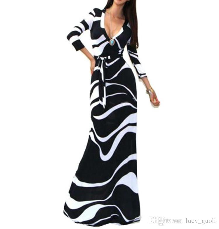 2016 Summer Fashion Ice Silk Slim Bodycon Sexy V neck Beach Dress Long Printed Elegant Maxi Sundress Tunique Femme Plus Size Black Yellow