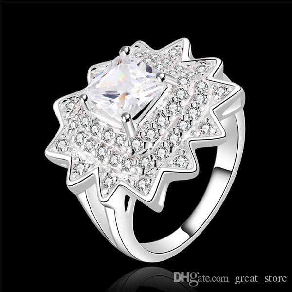 Mix boyutu 10 parça 925 gümüş Insets polimorfik kompozisyon çiçek yüzük GSSR486 yeni Fabrika doğrudan satış moda gümüş parmak yüzük