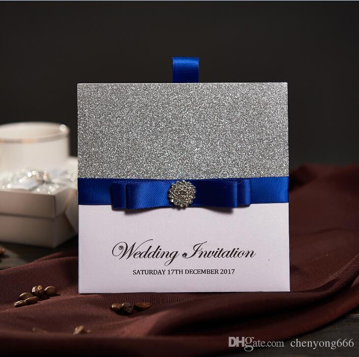 Traditional Pocket Wedding Invitations With Blue Ribbon & Rhinestone ...