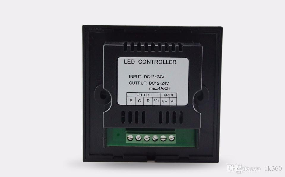 Rainbow RGB Controller Wall Mounted LED RGB Touch Dimmer Panel Full Color Controller DC12 4A * 3CH For 5050 3528 3014 RGB Strip Lights