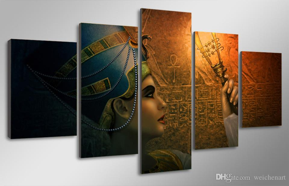 5 Mısır Of Paneli HD Baskılı Queens Tuval Odası Dekor Poster Resim Büyük Tuval yağlıboya resimler yazdırın Boyama